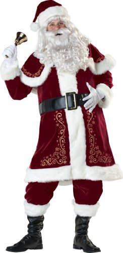InCharacter Costumes, LLC Jolly Flocked Velvet Coat, Red/White, X-Large