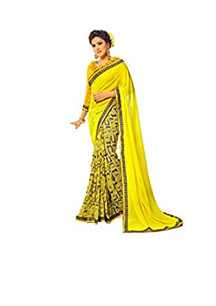 Fancy printed yellow color georgette printed designer sari for Sari furniture designer