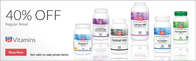 40% off Regular Retail Rite Aid Brand Vitamins. Not valid on sale priced items.