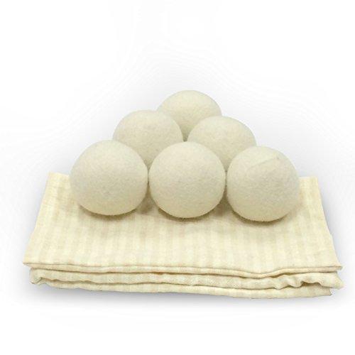 100% Premium Soft Sheep Wool Dryer For Trockner 6-Pack XL Handmade All Nature Fabric Softener Wool Dryer Ball 6CM