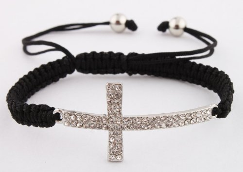 Black Lace Style Iced Out Cross Bracelet with Beaded Disco Balls Macrame Shamballah