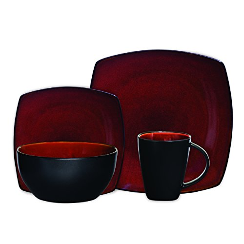 Gibson Soho Lounge 16-Piece Square Reactive Glaze Dinnerware Set,  Red (Red Tableware compare prices)