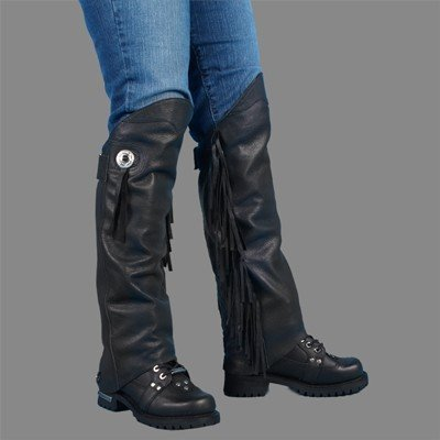 Motorcycle Biker Leather Leg Warmer Half Chap XS/S