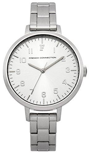 French Connection Mujer Reloj De Cuarzo Con Esfera Plateada Pantalla Analógica y plata pulsera de acero inoxidable fc1248sma