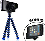 JOBY Gorillapod Flexible Tripod (Black/Blue) and a Bonus Universal Smartphone Tripod Mount Adapter works for iPhone 3g, 4, 4S, 5, HTC One, Galaxy S2, S3, S4, Blackberry Z10,Q10, Motorola Droid and Most Smartphones