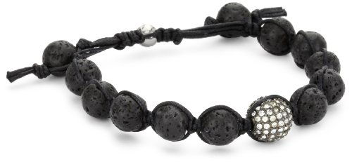 Tai Black Lava Beads with Pave Swarovski Clear Crystal Ball Bracelet