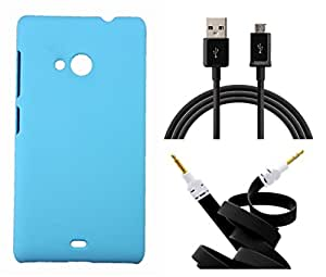 Toppings Hard Case Cover With Aux Cable & Data Cable For Microsoft Lumia 540 - Skyblue