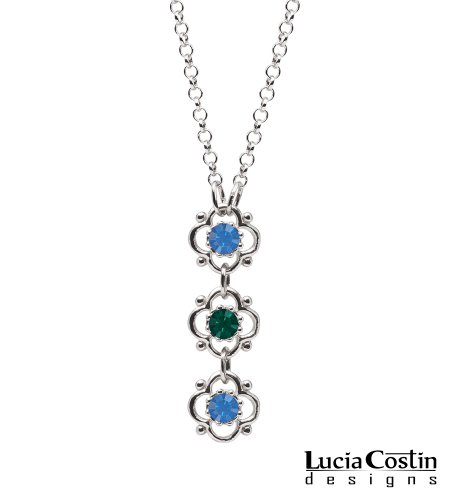 Lucia Costin .925 Sterling Silver Flower Pendant with 4 Petal Flowers Surrounded by Dots, Green and Blue Swarovski Crystal Accents; Handmade in USA