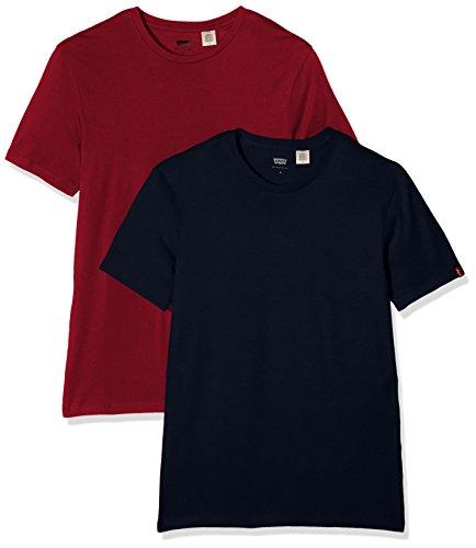 levis-slim-2-pack-crew-tee-t-shirt-uomo-multicolore-dress-blues-tibetan-red-medium