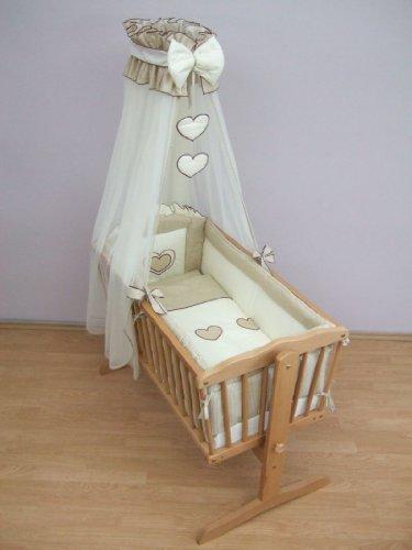 10 Piece Crib Baby Bedding Set 90x40cm Fits Swinging / Rocking Cradle - Hearts Beige Check