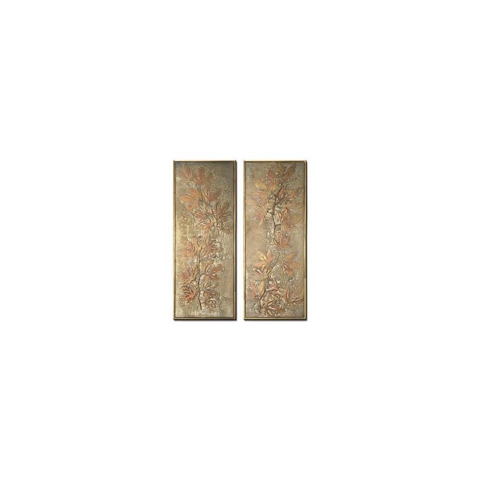 Oak Leaf Set of 2 Decorative Wall Art Panels   Wall Sculptures
