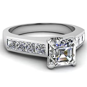Channel 1.35 Ct Asscher Cut & Princess Diamond Engagement Ring 14K Gold GIA Certificate # 1169873725