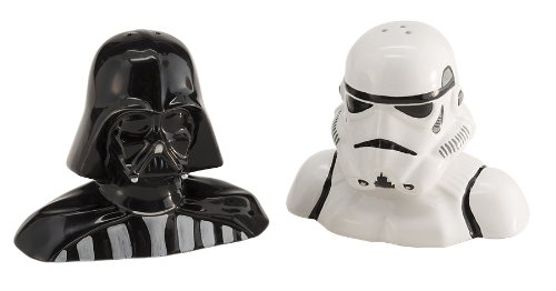 Vandor 54017 Star Wars Darth Vader and Stormtrooper Salt and Pepper Shakers, Black/White