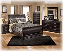 Hot Sale Ashley Esmarelda Classic Curved Queen Sleigh Bedroom Set in Dark merlot Finish