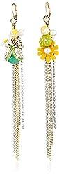 "Betsey Johnson ""Flower Child"" Daisy and Bug Mismatch Multi-Chain Linear Drop Earrings"