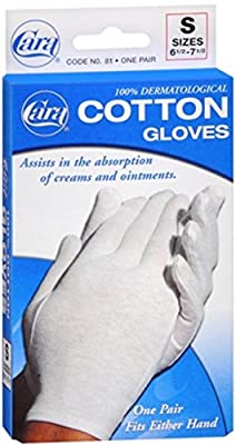 Cara 100% Dermatological Cotton Gloves Small 1 Pair