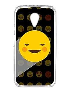 Moto G2 Back Cover - Whatsapp Emoji - You Make Me Blush - Black - Designer Printed Hard Case with Transparent Sides