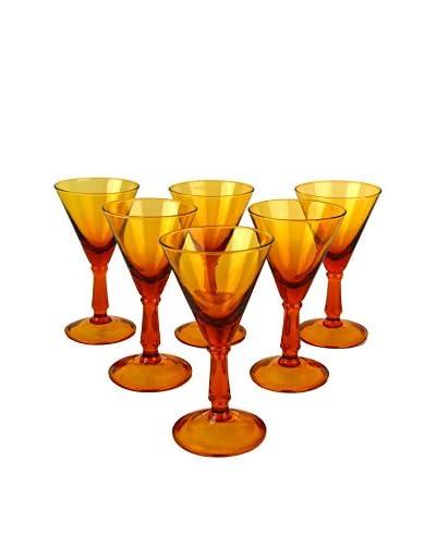 Patina Vie Vintage Set of 6 Goblets, Amber