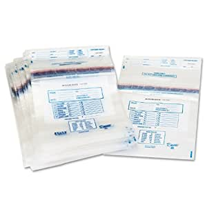 PM Company SecurIT Tamper Evident Plastic Disposable Coin Tote, 13 x 22 Inches, Clear with Printed Content Area, 100 Cartons (58013)