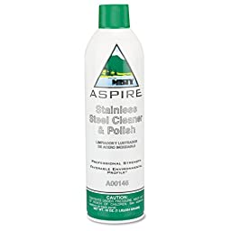 Misty Aspire Stainless Steel Cleaner & Polish, Lemon Scent, 16 oz. Aerosol Can - 12 cans.