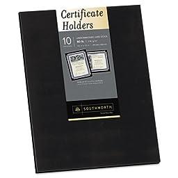 2 X Southworth Certificate Holder, Black, Linen, 105 lbs., 12 x 9-1/2, 10/Pack