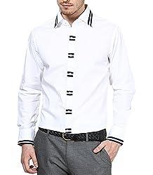Dazzio Men's Slim Fit Cotton Casual Shirt (DZSH0082_Grey_40)