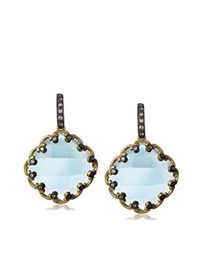 Freida Rothman Aqua CZ Framed Earrings