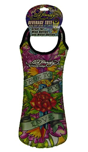 Ed Hardy Designs By Christian Audigier Neoprene One-Bottle Wine Beverage Tote (Tattoo True Love)