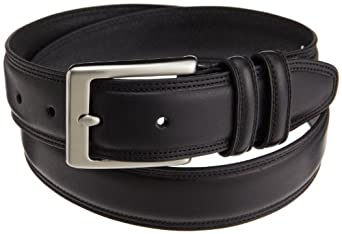 Dockers Mens 35 Mm Leather Feather Edge Creased and Domed Belt, Black, 36