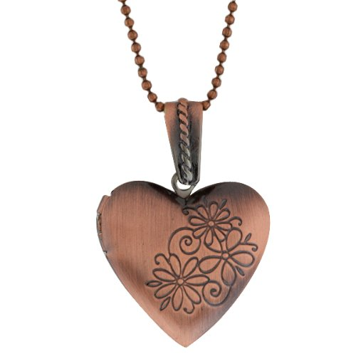 Heart Shape Engraved Locket Pendant With 28 Inch Chain