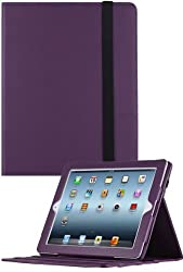 HHI Re-Elegant Muti-Function Viewing Stand Case For iPad 4 with Retina display / The new iPad (3rd Generation) / iPad 2 - Purple (Built-in magnet for sleep and wake feature)(include HHI Stylus Pen)