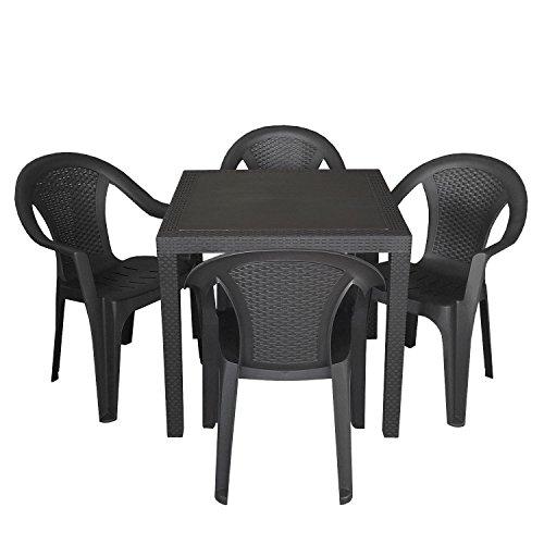 5tlg-Gartengarnitur-Balkonmbel-Set-Sitzgarnitur-79x79cm-Rattan-Look-Vollkunststoff-Terrassenmbel-Stapelstuhl-Schwarz