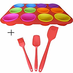 12 Cavity Silicone Muffin Pan Mold Tray & 12 Cups Silicone Cakecup Mold Maker & Silicone Spoon Spatula Brush For Baking perfect Cake