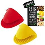 Silicone Pot Holder, Oven Mini Mitt Set of 2, Cooking Pinch Grips, Kitchen Heat Resitant Solution, Assorted Colors