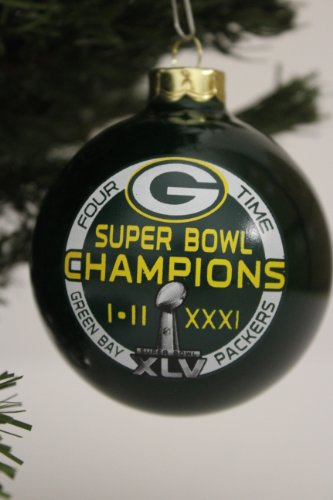 "Green Bay Packers NFL ""4 TIMES SUPER BOWL CHAMPIONS"" Traditional 2 3/4″ Glass Christmas Ornament- Green"