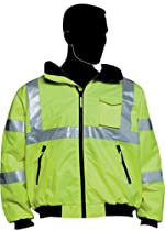 """Liberty HiVizGard Polyester Class 3 Bomber Jacket with 2"""" Wide Silver Reflective Stripes, 5X-Large, Lime Green"""