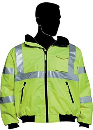 "Liberty HiVizGard Polyester Class 3 Bomber Jacket with 2"" Wide Silver Reflective Stripes, Medium, Lime Green"