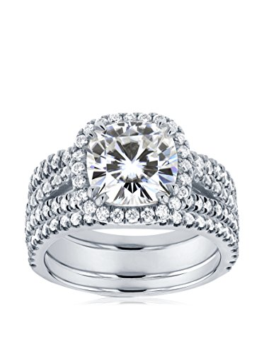 Kobelli 14K White Gold Cushion-Cut Moissanite & Diamond Halo 3-Piece Bridal Ring Set