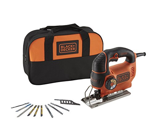BLACK+DECKER KS901SESA2-QS Seghetto Alternativo Autoselect 620W ad Azione Pendolare con 10 Lame, Arancione/Nero