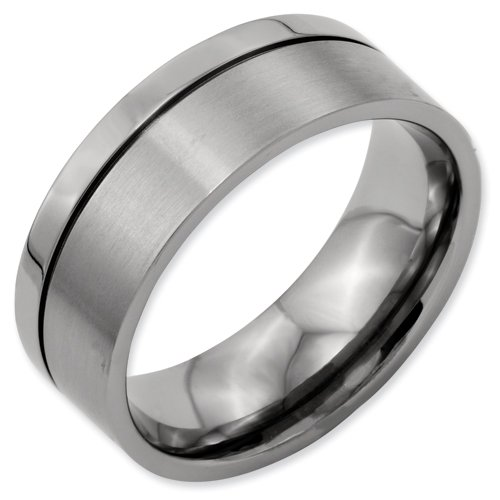 Titanium Grooved 8mm Brushed and Polished Band Ring Size 5.5 Real Goldia Designer Perfect Jewelry Gift for Christmas