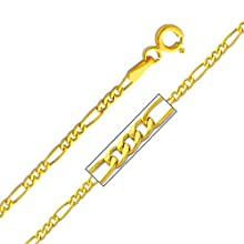 14K Yellow Gold 1.9mm Figaro 3+1 Chain Necklace with Spring-ring Clasp – 18″ Inches