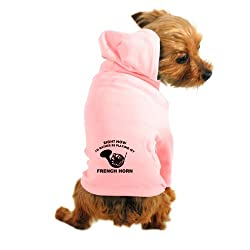 CafePress French Horn silhouette designs Dog Hoodie - M Light Pink by CafePress