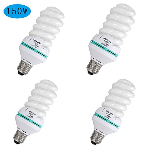 Selens 4 Piece 150w CFL Spiral Daylight Balanced Light Bulb with 5500K 110V E27 Color Temperature for Photography and Video Studio Lighting - Energy Saving (Temperature Bulb compare prices)
