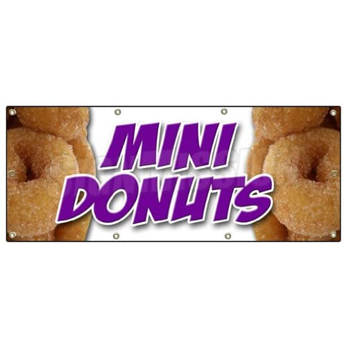 36x96 MINI DONUTS BANNER SIGN donut fried sugar chocolate doughnut