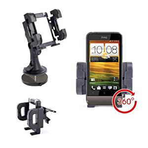 Non-Slip Windscreen & Vent Mount With Adjustable Vent Clips For HTC One V & EVO 3D