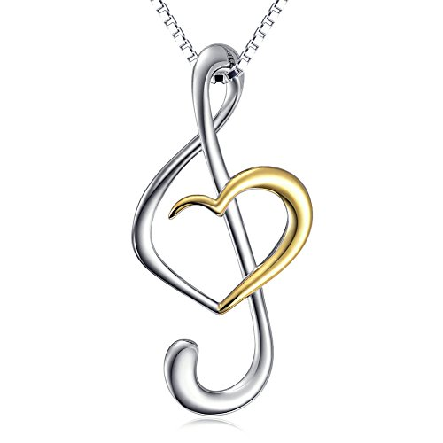 (Musical Note Necklace Pendant) 925 Sterling Silver Jewelry For Women, Box Chain 18""
