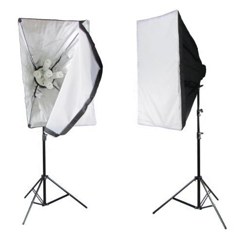 PhotoGeeks / 2 Light / Super 5 Softbox Continuous Photography Lighting Kit / 2250w / 50 x 70cm Soft Boxes / 10 45w 5500k Bulbs