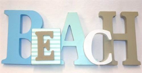 """Beach Word Sign - Tropical Beach Decor - Great For Office - Table Top Or Wall Hanging - 12.5"""" Long 5"""" Tall front-80042"""