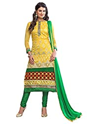 Surat Tex Yellow Color Party Wear Embroidered Chanderi Un-Stitched Dress Material-I40DL6025
