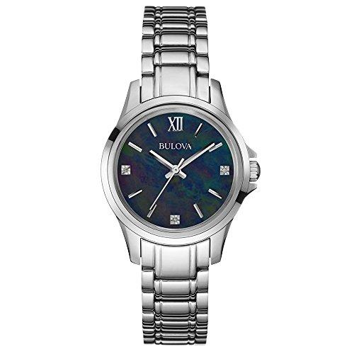 Bulova Diamond Women's Quartz Watch with Black Dial Analogue Display and Silver Stainless Steel Bracelet 96P153